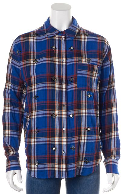 ELIZABETH AND JAMES Blue Red Plaid Embellished Button Down Shirt