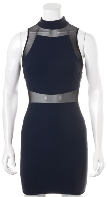 ELIZABETH AND JAMES Navy Blue Black Mesh Trim Sleeveless Bodycon Dress