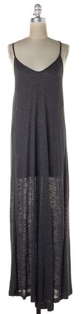 ELIZABETH AND JAMES Medium Gray Semi-Sheer Scoop Neck Maxi Dress