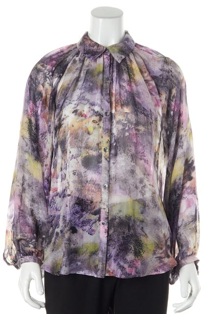 ELIZABETH AND JAMES Purple Abstract Silk Button Down Shirt