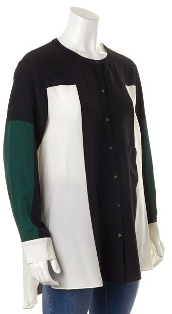 ELIZABETH AND JAMES Black Green Ivory Crepe Silk Button Down Shirt Top