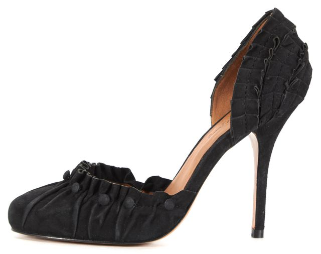 ELIZABETH AND JAMES Black Suede Ruffled Button Detail Pump Heels