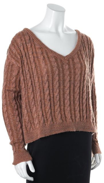 ELIZABETH AND JAMES Brown Pink Cable Knit Oversized V-Neck Sweater