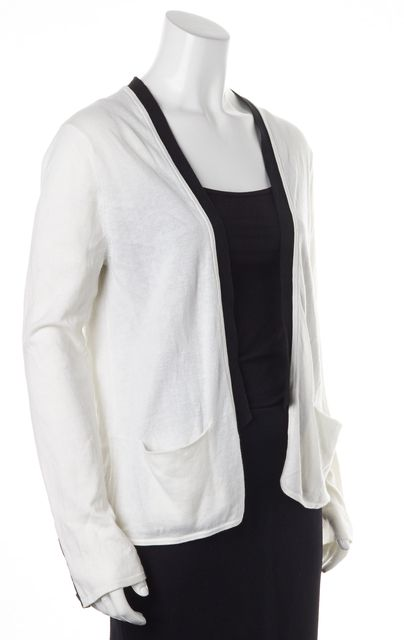ELIZABETH AND JAMES White Black Cotton Cashmere Knit Cardigan Sweater