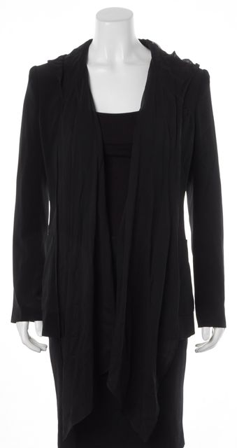 ELIZABETH AND JAMES Solid Black Blazer With Detachable Cape
