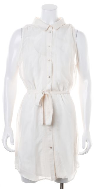 ELIZABETH AND JAMES White Button Up Sleeveless Shift Dress