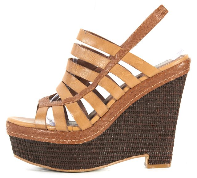 ELIZABETH AND JAMES Camel Brown Leather Basket Platform Wedge Sandals