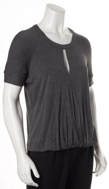 ELIZABETH AND JAMES Gray Jersey Keyhole Bubbled Hem Blouse Top