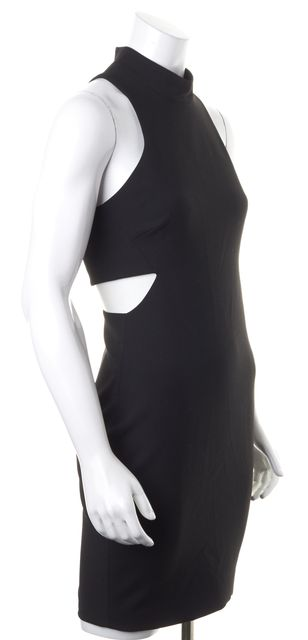 ELIZABETH AND JAMES Black Sleeveless Racerback Cut Out Bodycon Sheath Dress