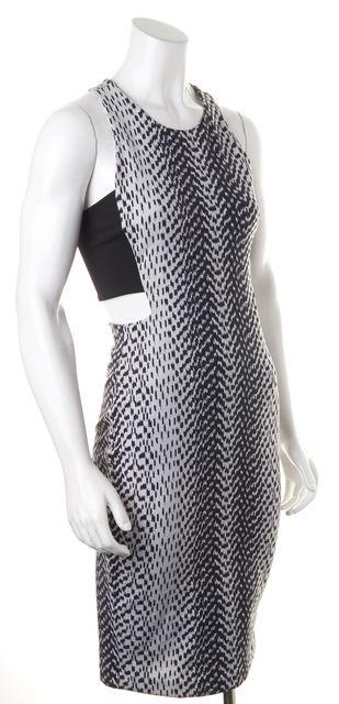 ELIZABETH AND JAMES White Black Printed Sleeveless Cutout Bodycon Dress