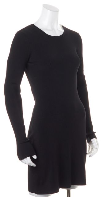 ELIZABETH AND JAMES Black Cut-Out Shoulder Ribbed Knit Stretch Dress