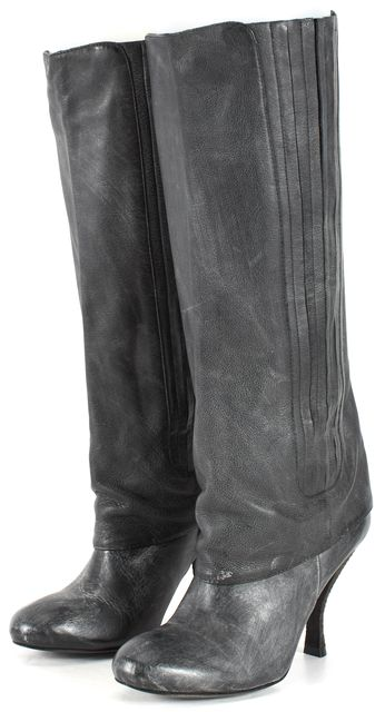 ELIZABETH AND JAMES Gray Distressed Pleated Leather Tall Boots