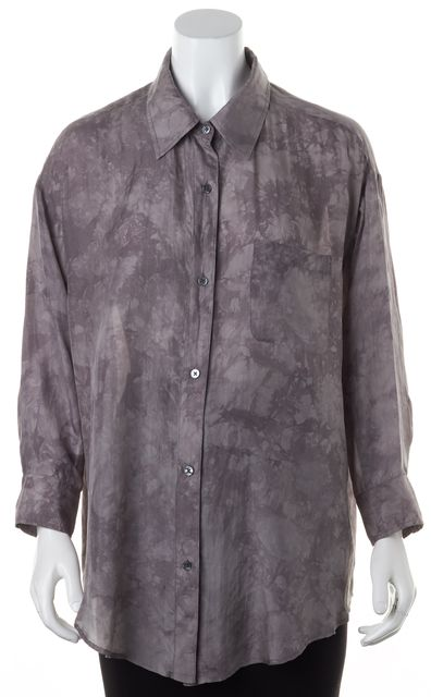 ELIZABETH AND JAMES Gray Watercolor Abstract Floral Silk Button Down Blouse