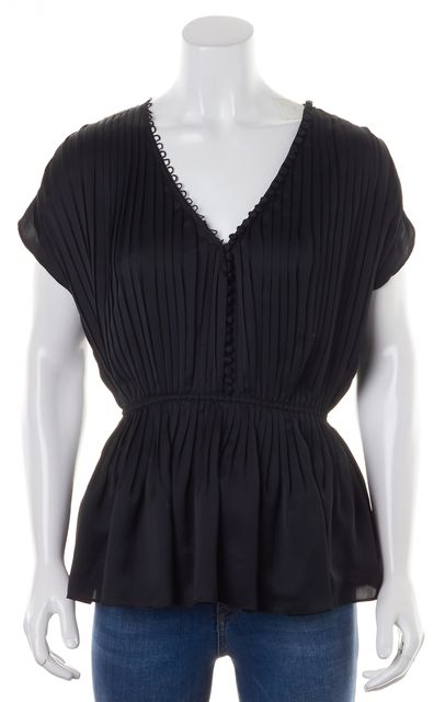 ELIZABETH AND JAMES Black Pleated Cap Sleeve Blouse Top