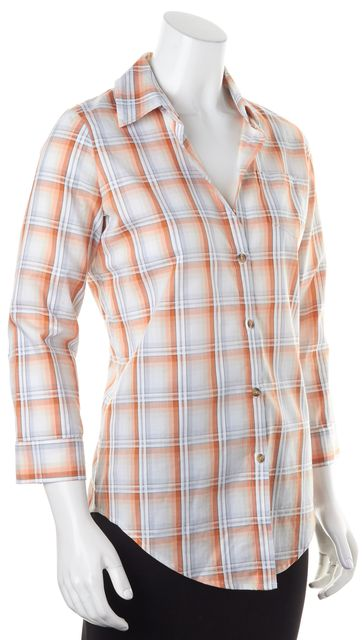 ELIZABETH AND JAMES Orange Gray White Plaid Long Sleeve Button Down Shirt