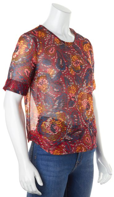 ELIZABETH AND JAMES Red Yellow Blue Floral Silk Semi Sheer Blouse