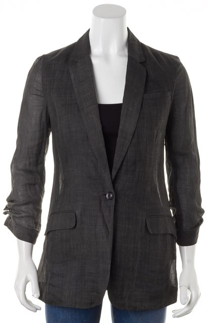 ELIZABETH AND JAMES Gray Semi-Sheer Ruched Sleeves One-Button Blazer Jacket