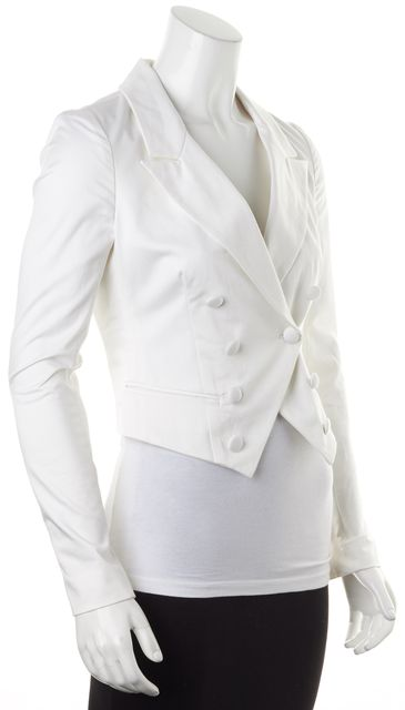 ELIZABETH AND JAMES White Cotton Sateen Cropped Double Breasted Blazer