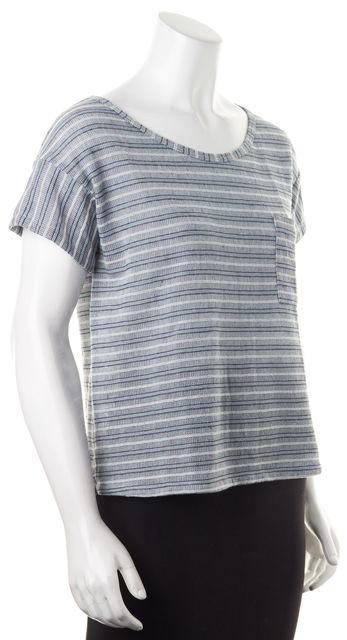 ELIZABETH AND JAMES Blue Teal White Striped Kiley Tee Knit Top