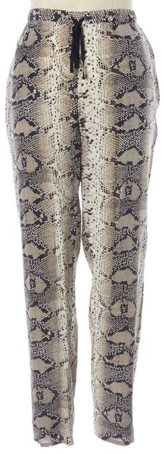 ELIZABETH AND JAMES Beige Silk Snake Print Drawstring Ankle Zip Pants