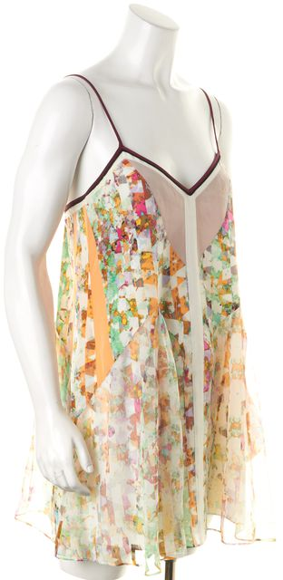 ELIZABETH AND JAMES Orange Abstract Spaghetti Strap Silk Sundress