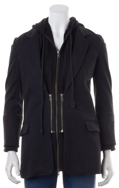 ELIZABETH AND JAMES Heather Gray Sleeveless Hoodie Layered Zip Up Jacket