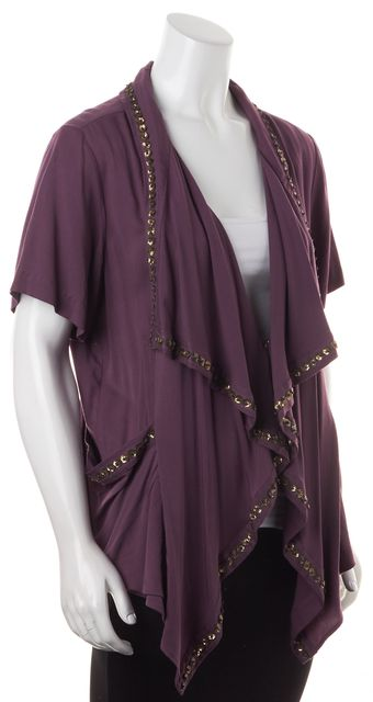 ELIZABETH AND JAMES Purple Bronze Floral Sequin Open Front Cardigan