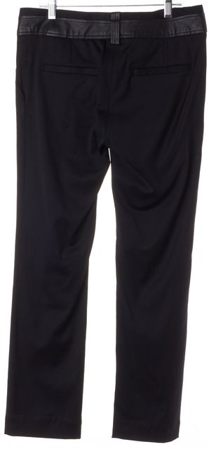 ELIZABETH AND JAMES Black Wool Leather Waist Slim Leg Trousers Pants