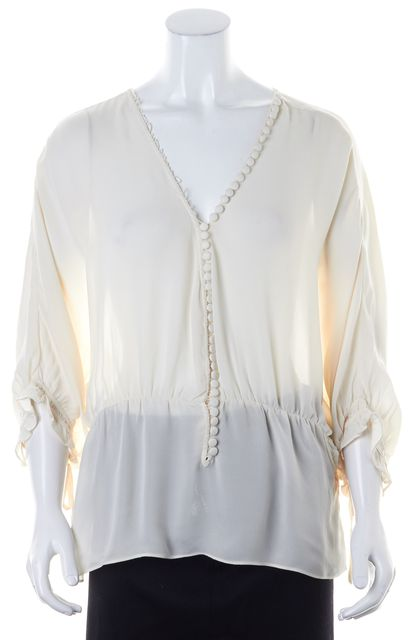 ELIZABETH AND JAMES Ivory Sheer Silk Button Front 3/4 Dolman Sleeve Blouse