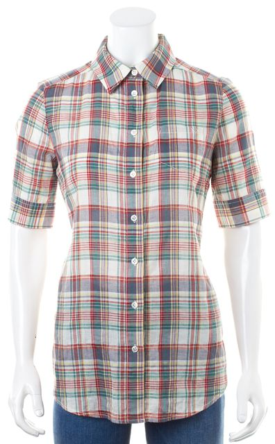 ELIZABETH AND JAMES Multi-Color Plaid Gathered Back Button Down Shirt Top