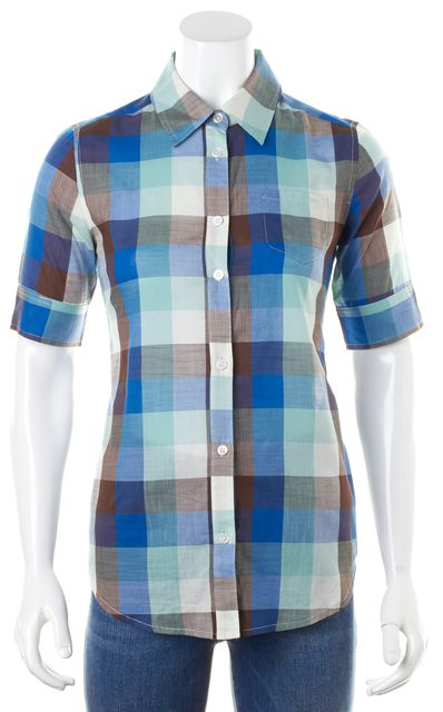 ELIZABETH AND JAMES Blue Turquoise Brown Check Button Down Shirt Top