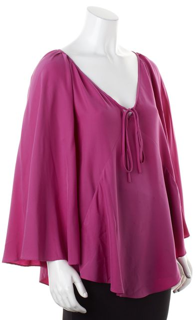 ELIZABETH AND JAMES Fuchsia Purple Silk Long Bell Sleeves V-Neck Blouse
