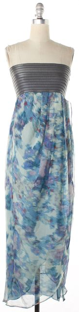 ELIZABETH AND JAMES Blue Abstract Printed Silk Strapless Wrap Maxi Dress