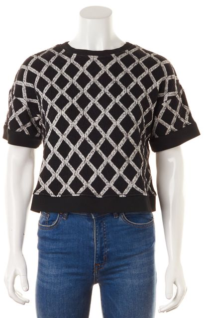 ELIZABETH AND JAMES Black White Diamond Knit Boxy Crop Top