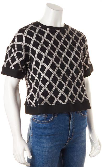 ELIZABETH AND JAMES Black White Diamond Knit Boxy Crop Top