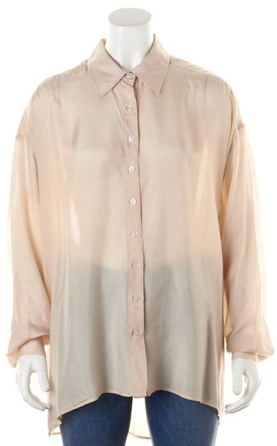 ELIZABETH AND JAMES Light Pink Silk Button Down Blouse Top