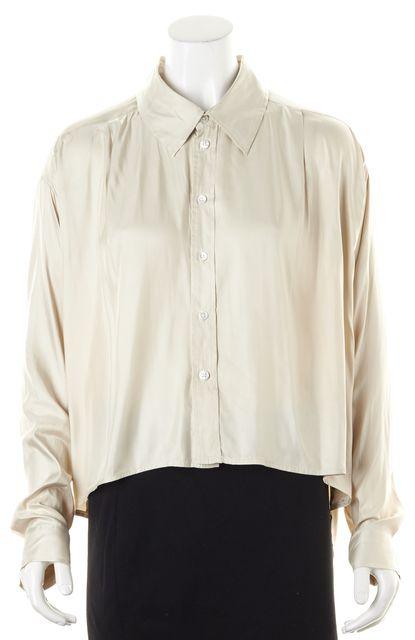ELIZABETH AND JAMES Beige Satin Button Down Shirt Blouse