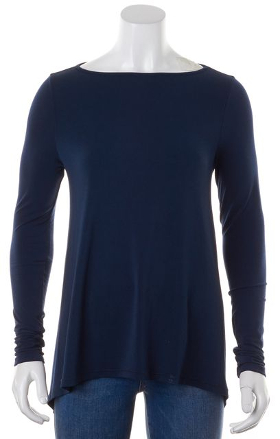 ELIZABETH AND JAMES Blue Jersey Long Sleeve Button Back Blouse