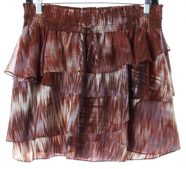 ELIZABETH AND JAMES Java Brown Abstract Silk Hillary Tiered Skirt