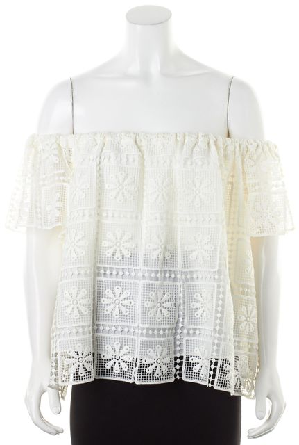 ELIZABETH AND JAMES Ivory Crochet Lace Off-Shoulder Piper Top Blouse