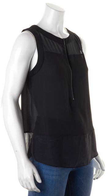 ELIZABETH AND JAMES Black Sleeveless Zip Front Sheer Blouse