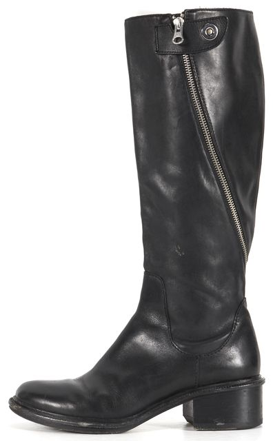 ELIZABETH AND JAMES Black Leather Heidi Equestrian Boots