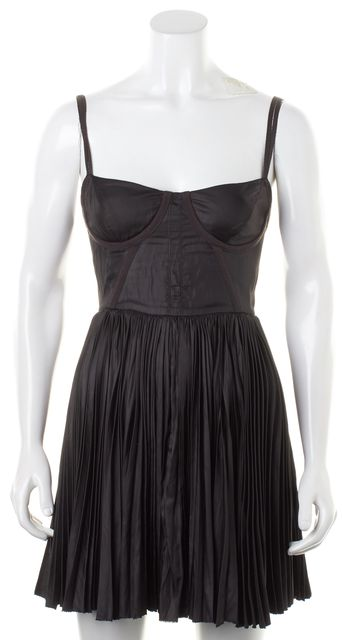 ELIZABETH AND JAMES Black Corset Top Pleated Skirt Fit Flare Dress