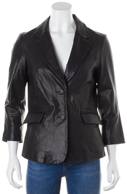 ELIZABETH AND JAMES Black Leather Two Button 3/4 Sleeve Blazer Jacket