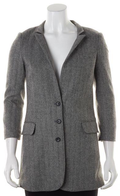 ELIZABETH AND JAMES Gray Herringbone Wool Three Button Classic Blazer