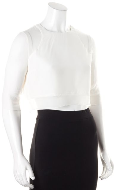 ELIZABETH AND JAMES White Silk Cropped Semi Sheer Blouse Top
