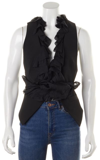 ELIZABETH AND JAMES Black Ruffled Hook & Eye Vest