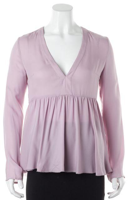 ELIZABETH AND JAMES Lavender Purple Silk V-Neck Blouse