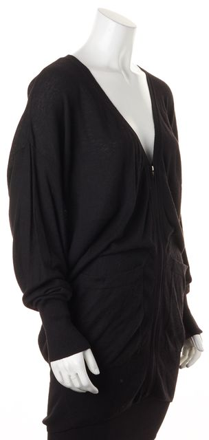 ELIZABETH AND JAMES Black Knit Dolman Sleeves Zip Up Relaxed Long Cardigan