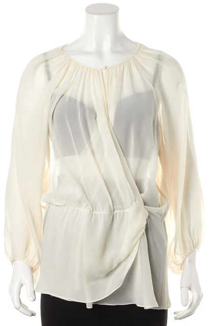 ELIZABETH AND JAMES Ivory Sheer Silk Keyhole Neck Wrap Blouson Top